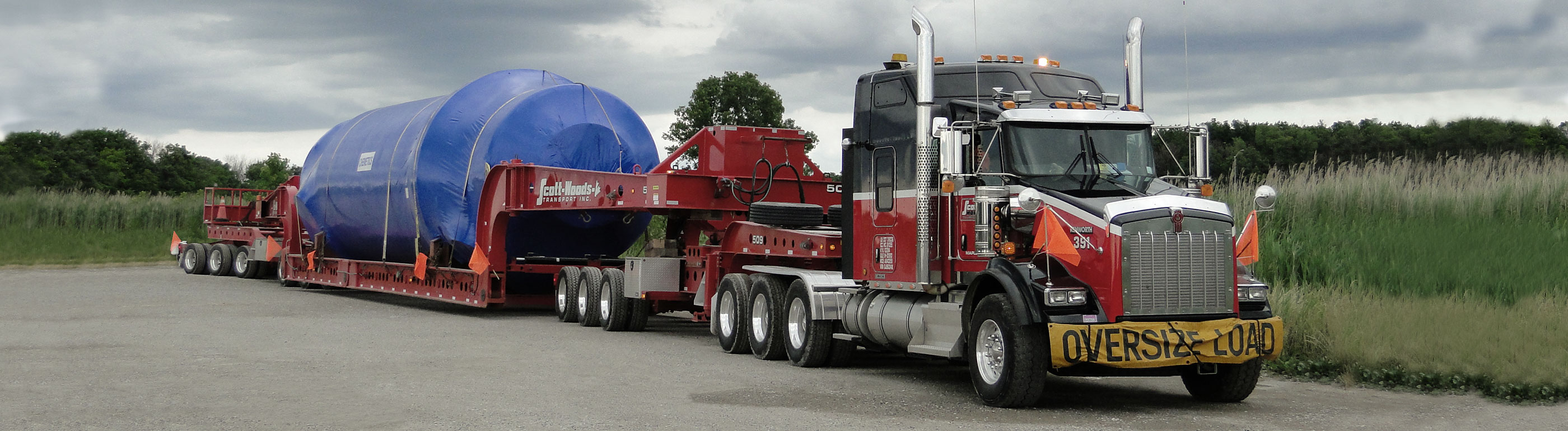 Heavy haul truck transporting oversized equipment