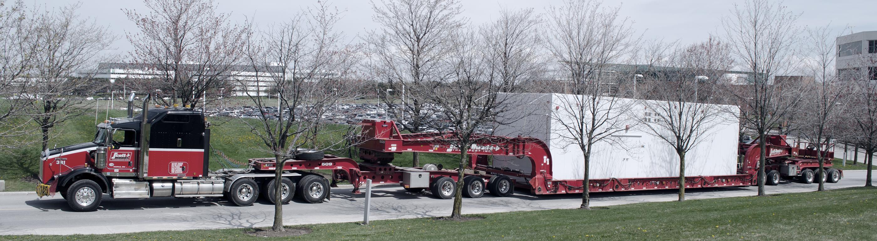Heavy haul truck transporting oversized equipment