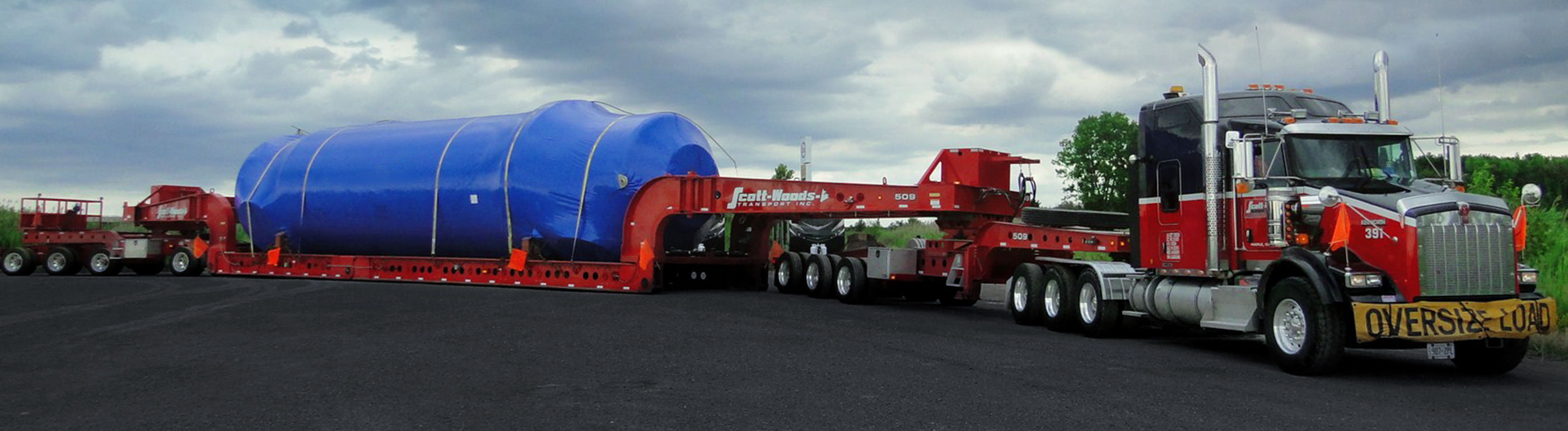 Scott Woods heavy haul truck transporting oversized equipment